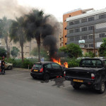The car on fire.